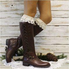 SCARLET ROSE  lace boot socks - ivory