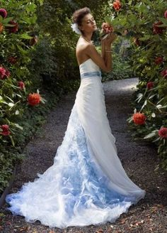 David's Bridal Wedding Dress: Organza Gown with Print Waistband and 3D Flower