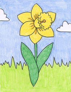 """How to draw a daffodil (use as a guide while drawing from a live flower). We used as a bookmark with """"I wondered lonely as a cloud"""" poem on back. FEBRUARY"""