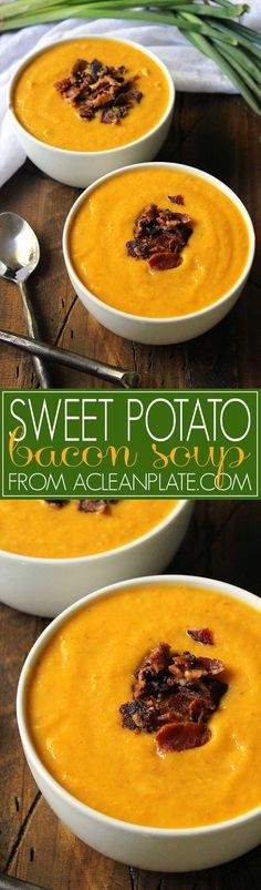 Sweet Potato Artichoke and Bacon Soup recipe from acleanplate.com