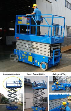 Electric scissor lift, 6m lifting height, 230kg capacity. Compact size enable machine go through narrow spaces easily (http://sinolifter.com/self-propelled-scissor-lift/battery-electric-lift-6m.html)