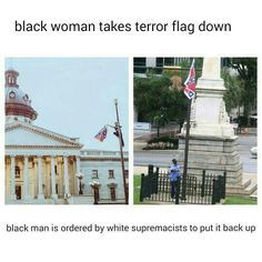 "6/26/15  ""Liberal Activist, Bree Newsome Takes Down the South Carolina Confederate Flag After Conservative Activist Kills 9"".  She is quoted as saying we remove the flag today because we can't wait any longer. We can't continue like this another day. It's time for a new chapter where we are sincere about dismantling white supremacy and building towards true racial justice and equality. #FreeBree"
