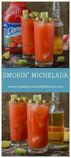 Smoky spices, liquid smoke and Clamato juice blend perfectly to create these Smokin' Michaladas Which are the ultimate brunch sippers. | Strawberry Blondie Kitchen