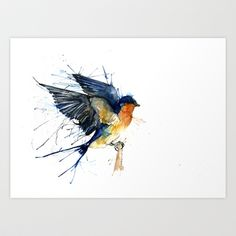 Swallow 3 Art Print by Meg Ashford - $12.48