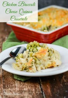 Chicken Broccoli Cheese Quinoa Casserole ~ use gluten free breadcrumbs or not use them at all to keep this gluten free! No canned soup for me