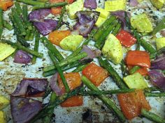 Roasted veggies. Cut them into bite size pieces. Can be bell pepper , yellow squash, asparagus, cherry or grape tomato, or purple onion in bite size squares.  Light coating of olive oil, light seasoning of salt and pepper, and a splash of Mediterranean steak seasoning. Roast in oven on 425 for about 15 -20 minutes, turning once in between the cooking time.