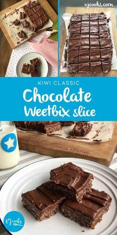 Classic chocolate Weetbix slice a kiwi classic from VJ Cooks. Baking Recipes, Cake Recipes, Dessert Recipes, Quiche Recipes, Baking Ideas, Brunch Recipes, Dessert Ideas, Cake Ideas, Snack Recipes