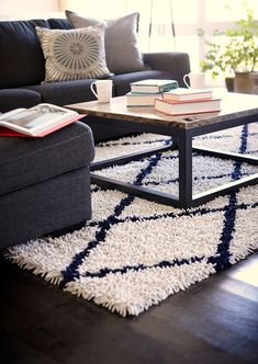 Area Rugs - Ivory Silky Shag Rug With Navy Diamond – Oxeme Home