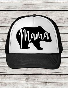 Mama Bear Trucker Cap Hat can be done is Black White Front or Navy  1b60a70bc9c