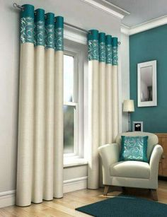 Living room ideas #turquoise #accentwall #curtains