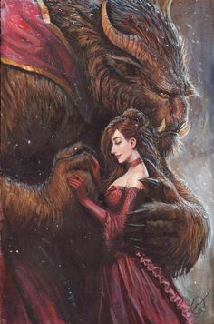 I love the detail and the size of his hand!  But people always make the Beast too pretty. XD            beauty and the beast acrylic commission by nebezial on DeviantArt