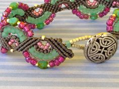 Gray Micro Macrame Bracelet with Green and Fuschia.