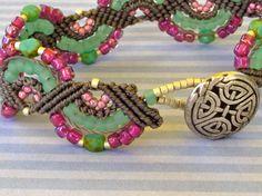 Gray Micro Macrame Bracelet with Green and Fuschia.