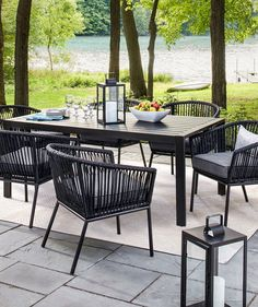Standish 7-Piece Strap Dining Set | Get your patio ready for barbecues and cocktail parties alfresco.