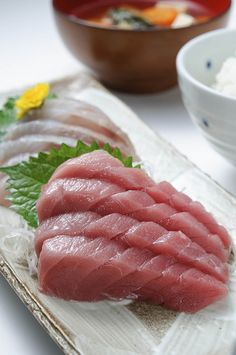 """"""" """", is a traditional japanese food to enjoy """" Slice of a fresh raw fish """" with soy sauce and ( Japanese Horseradish ). Sushi Recipes, Seafood Recipes, Asian Recipes, Cooking Recipes, Japanese Sashimi, Japanese Food, Traditional Japanese, Sashimi Sushi, Salmon Sashimi"""