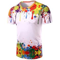 3D Colorful Splatter Paint Short Sleeve T Shirt ($11) ❤ liked on Polyvore featuring men's fashion, men's clothing, men's shirts, men's t-shirts, colorful mens dress shirts, mens short sleeve t shirts and mens short sleeve shirts