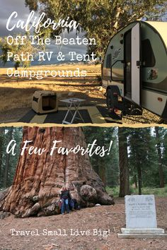 """Off the beaten path campgrounds ~ absolutely our favorite!  Join us as we share a few favorite Southern & Central California RV & Tent campgrounds that are off the beaten path. These are not well-known, nor are they super easy to get to. The are boondock style, """"off-grid"""", no hookups: KCL Campground in The Carrizo Plain National Monument, Aliso Park Campground & Balch Park in Mountain Home State Demonstration Forest with its Sequoias, ponds & Indian bathtubs.  CLICK THRU FOR VIDEO! Rv Travel, Travel Tips, Travel Destinations, Rv Tent, Central California, Bathtubs, Rv Life, Ponds, Great View"""