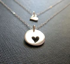 Mother daughter jewelry Sterling silver heart by thejewelrybar, $46.50