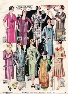1927- Twenties day dresses became any time dresses which were more like semi formal street clothes and afternoon frocks than work wear. http://www.vintagedancer.com/1920s/1920s-day-house-dresses-aprons/
