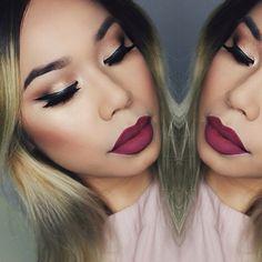"#ShareIG Warm coffee, cold hands, and dark lipsticks. ______________________________ Eyes: @amrezy palette + NYC Liquid Liner | Lips: @stilacosmetics Liquid Lipstick Aria | Brows: @anastasiabeverlyhills Dipbrow Chocolate | Skin: @bellettostudio Prime Genius Pore Perfecting Face Primer & BB Cream in Medium set with Studio Fix powder ______________________________ Use my code ""xosasha"" to get 15% off @bellettostudio"