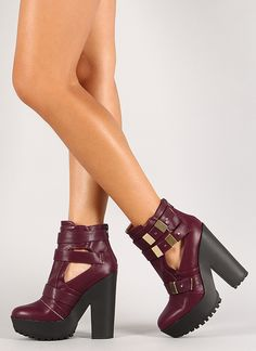 Strappy Chunky Heel Booties $39.99