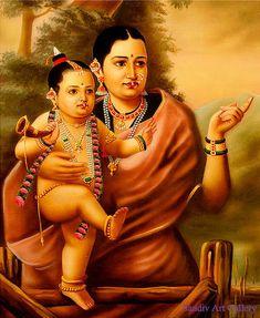 Ravivarma Paintings, Indian Paintings, Kerala Mural Painting, Tanjore Painting, Krishna Art, Lord Krishna, Shri Ganesh, Baby Krishna, Lord Shiva