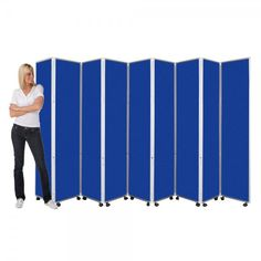 Mobile Folding Room Divider, 9 panel, 1800mm high, Woolmix Fabric