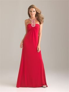 Empire Ruched Bodice With A Circular Jeweled Neckline Jersey Prom Dress PD10798