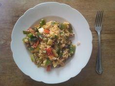 Auch ein wichtiges Alltagsrezept für die #vegetarische Küche: Gemüse-Reis-Pfanne.