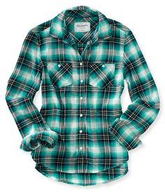 Long Sleeve Plaid Woven Shirt - Aeropostale