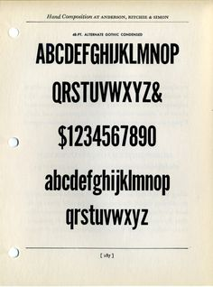 Alternate Gothic type specimen. Morris Fuller Benton.  The best of them all (for me, at least)