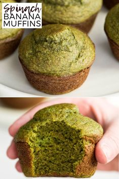 """These blender Spinach Banana Muffins are an easy, healthy, freezer-friendly breakfast full of fruit and veggies! We call them """"hulk"""" muffins because of their fun, naturally green color! They are gluten-free, dairy-free and have no refined sugar! #muffins #spinach #banana #glutenfree #dairyfree #vegan #green #stpattricksday #naturallygreen #breakfast  via @joyfoodsunshine"""