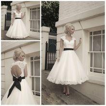 Cap Sleeves Black Belt Elegant Lace Sexy Open Back Vintage Short Wedding Dresses Bridal Gowns Vestido De Novia 2015