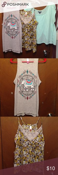 Elephant top, floral tank, American Eagle top, LOT Cute juniors size xl lot - elephant tank and floral tank are No Boundaries, and mint green tee is American Eagle.  Elephant tank is in like new condition.  Floral tank has some pilling but still very wearable - very pretty with crocheted detail in the front!  American Eagle top is super cute - the back is split so you can wear another colored tank under or leave it open - has slight pilling and one teeny tiny spot on the front (barely…
