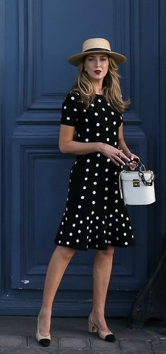 30 Dresses in 30 Days   Day 8: Dining Al Fresco // Black and white polka dot fit and flare knit dress, Chanel slingbacks, Mark Cross Benchley Bag, Janessa Leone Straw bolero hat, Vintage Chanel Earrings {Milly, Chanel, Mark Cross, Janessa Leone, polka dot trend, spring fashion, classic style}