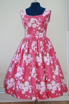 1950s style pink floral day dress with full by SallySweetlove, 50.00