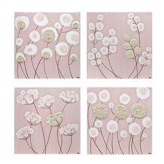 Pink Baby Girl Nursery Art  Original Flower Paintings  by Amborela, $152.00