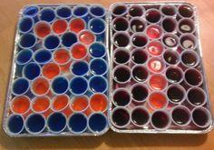 Happy birthday jello shot platters for my sister's @Kristen Abbott 21st birthday. Vodka/island berry jello, triple sec/orange jello, and rum/coke/cherry jello shots in 1 oz plastic cups I found at GFS. I recommend trying out shot recipes from myscienceproject.org/j-shot-3.html