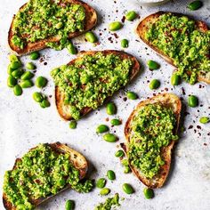 Smashed broad beans on toast