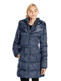 www.myhabit.com  Long zip-front puffer jacket with attached drawstring hood, snap slip pockets, drawstring waist and knit cuffs