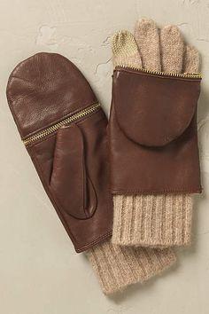Cara Leather Mitten Gloves - anthropologie.com