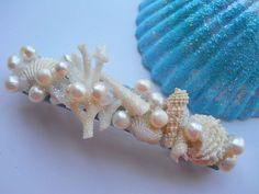 RESERVED Seashell Barrette Sparkly Bridal by BeachHouseTreasures