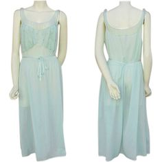 1940s Aqua Blue Embroidered Nightgown Bust 38 Size Large Valentine's from toinetterl on Ruby Lane