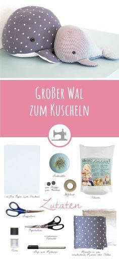 Großer Wal zum Kuscheln - gratis DIY Anleitung & Schnittmuster