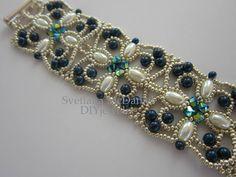 PDF beaded bracelet pattern seed beads pearls Swarovsky crystals