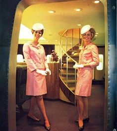 "Continental Airlines, FA's wearing the summer uniform on the 747 ""Welcome Aboard Our Wide Body Golden Jet"""