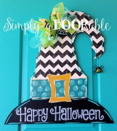 Witches Hat Wood Door Hanger. Simply by SimplyaDOORableNC on Etsy