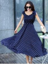Ericdress offering cheap maxi dresses is worth your visit. Good quality maxi dresses for women on sale here, such as white floral long maxi dresses with sleeves. Polka Dot Maxi Dresses, Cheap Maxi Dresses, Cheap Dresses Online, Dot Dress, Dress Online, Frock For Women, White Dresses For Women, Mode Outfits, Fashion Outfits