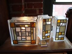 amber, ivory & clear glass fused on glass blocks