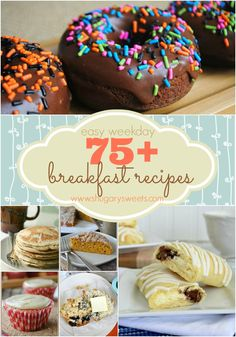 75  breakfast recipe ideas from donuts to muffins, eggs, pancakes and waffles. Youre sure to find something you love! #breakfast #recipe #food #recipes